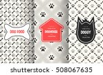 Stock vector dog seamless pattern background vector illustration for animal pet design bone paw print puppy 508067635