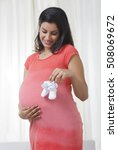 pregnant mother holding baby... | Shutterstock . vector #508069672