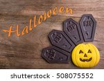 halloween pumpkin cookie and... | Shutterstock . vector #508075552