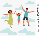happy family jumping on white... | Shutterstock .eps vector #508076116