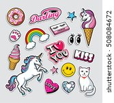 fashion patch badges in 80s 90s ... | Shutterstock .eps vector #508084672