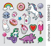 fashion patch badges in 80s 90s ... | Shutterstock .eps vector #508084912