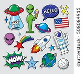 fashion patch badges in 80s 90s ... | Shutterstock .eps vector #508084915