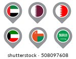 gcc gulf country flag map point ... | Shutterstock .eps vector #508097608