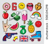 fashion patch badges in 80s 90s ... | Shutterstock .eps vector #508104298