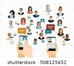 global social network abstract... | Shutterstock .eps vector #508125652