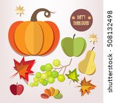 happy thanksgiving day elements ...   Shutterstock .eps vector #508132498