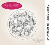 spaghetti pasta and meatballs... | Shutterstock .eps vector #508162552