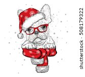 french bulldog in a christmas... | Shutterstock .eps vector #508179322