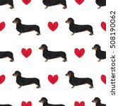 Stock vector dachshund dog seamless pattern colorful background with hearts 508190062