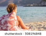 woman relaxing on the sandy...   Shutterstock . vector #508196848