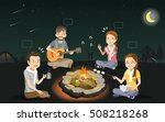 party bonfire with friends for... | Shutterstock .eps vector #508218268