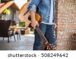young hipster man playing... | Shutterstock . vector #508249642