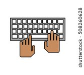 isolated hands over keyboard... | Shutterstock .eps vector #508260628