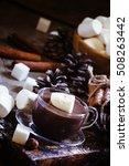 liquid chocolate with... | Shutterstock . vector #508263442