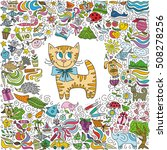 cute cartoon cat and colorful... | Shutterstock .eps vector #508278256