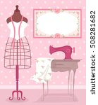 Shabby Chic Sewing Illustratio...
