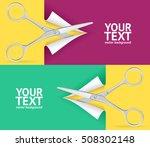 scissor cut paper banner...   Shutterstock .eps vector #508302148