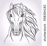 Stock vector sketch head of horse on light background 508304182