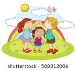 three kids playing game in the... | Shutterstock .eps vector #508312006