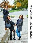 three young attractive girls... | Shutterstock . vector #508325452