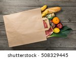 Different Food In Paper Bag On...