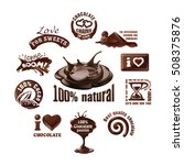 set vector chocolate logos and... | Shutterstock .eps vector #508375876