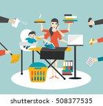 multitask woman. mother ... | Shutterstock .eps vector #508377535