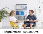 female therapist talking with... | Shutterstock . vector #508380295