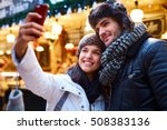 young couple making selfie on... | Shutterstock . vector #508383136