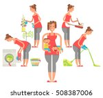 set of housewife in funny... | Shutterstock .eps vector #508387006