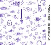 hand drawn fish pattern.... | Shutterstock .eps vector #508390822