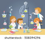 chemistry laboratory with pupils | Shutterstock .eps vector #508394296