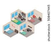 isometric house rooms  bedroom... | Shutterstock .eps vector #508407445