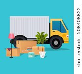 moving truck and cardboard...   Shutterstock .eps vector #508408822