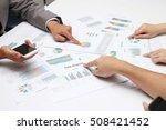 group coworkers having... | Shutterstock . vector #508421452