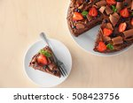 delicious chocolate cake with... | Shutterstock . vector #508423756