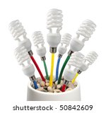 New Bright Ideas - Fluorescent Light Bulbs attached to a colored network cables growing in a pot on a white background - stock photo