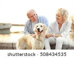 Stock photo senior couple and big dog on bund 508434535