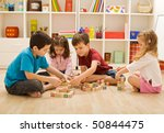 children playing with blocks on ... | Shutterstock . vector #50844475