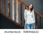 young beautiful happy woman in... | Shutterstock . vector #508446622