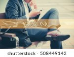 hand writing moronic  with the... | Shutterstock . vector #508449142