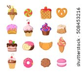 set of funny sweets in flat... | Shutterstock .eps vector #508453216