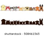 Stock vector cats and dogs border set with silhouette 508461565