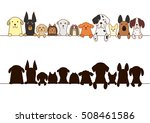 big dogs and small dogs border... | Shutterstock .eps vector #508461586