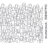 the crowd of abstract people ... | Shutterstock . vector #508487992