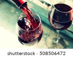 pouring wine. pouring red wine. ... | Shutterstock . vector #508506472