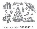 vector hand drawn christmas... | Shutterstock .eps vector #508513516