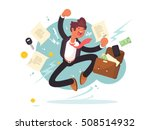 successful businessman jumping...