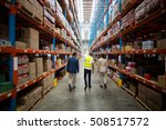 rear view of warehouse team... | Shutterstock . vector #508517572